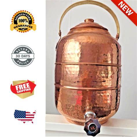 details  copper water pot dispenser  gal  ltr  tap faucet kitchen  glass