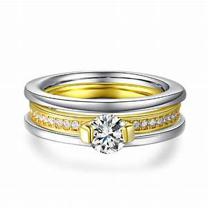 18k gold plated two tone wedding ring set mr011r rojaai for Two toned wedding ring sets