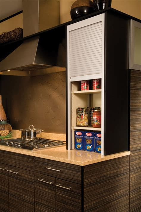 Straight Appliance Garage Metal Tambour   Modern   Kitchen