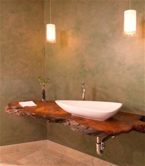 Floating redwood counter with hanging lights   Asian