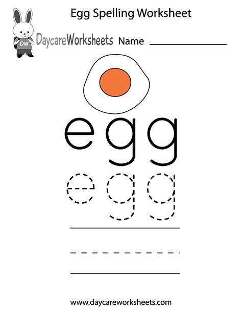 Free Preschool Egg Spelling Worksheet