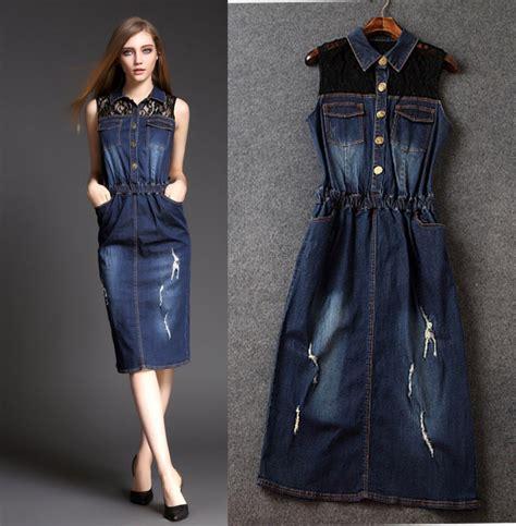 Blue jean dress with belt - Hairstyle for women u0026 man