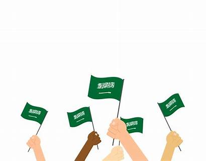 Saudi Arabia Background Vector Flags Holding Isolated