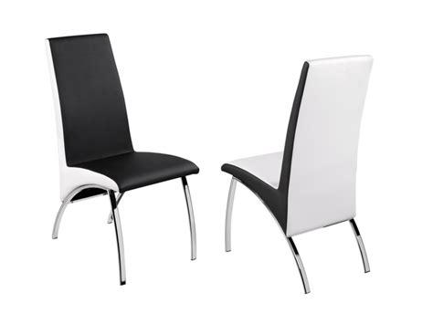 chaise blanche et noir lot de chaises assise et dossier simili blanc