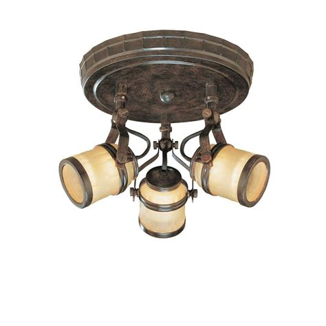 home depot flush mount ceiling light fixtures hton bay 9 in 3 light iron oxide semi flushmount with