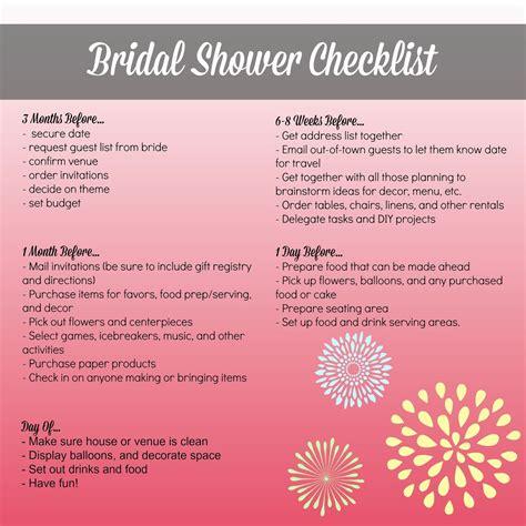 Bridal Shower Preparation by Bridal Shower Planning Checklist Bridal Shower