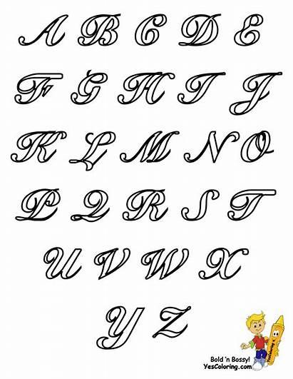 Letters Alphabet Cursive Coloring Capital Pages Chart