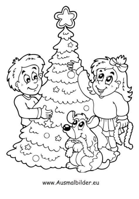 ausmalbilder christbaum schmuecken weihnachtsbaeume