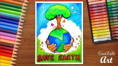 draw save earth poster chart  school students
