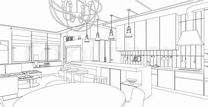 Interior Drawing Living Line Vector Architectural Draw