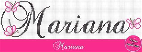 Nome Mariana Em Ponto Cruz Monograma Borboletas Altura 40