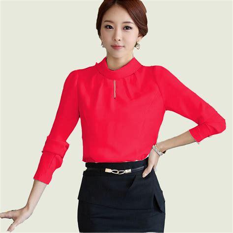 blus korea leher tinggi tangan panjang elevenia
