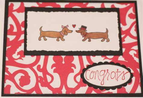 Dachshund Wedding Engagement Card Bride and Groom