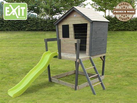 kinderspielhaus mit sandkasten kinder spielhaus holz exit 171 aksent 187 kinderstelzenhaus comic rutsche kaufen im holz haus de
