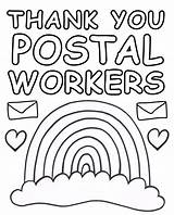 Postal Workers Rainbow Poster Thank Printable Posters Colour Thanks Printables Say Windows sketch template