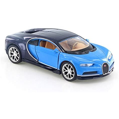 """The model has to stand out, be entirely different from the rest of machines found. Welly Bugatti Chiron, Blue/Dark 43738D - 4.5"""" Diecast ..."""
