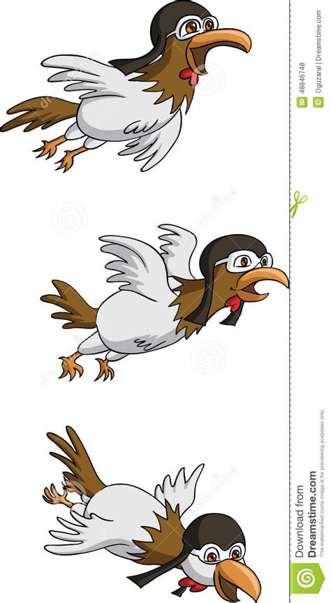 chicken wearing  flying cap stock illustration