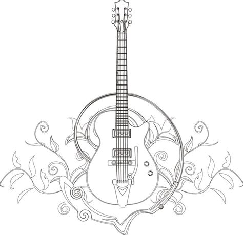 guitar coloring page  blanco designs zentangles adult