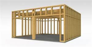 Garage ossature bois bois et passion for Maison bois toit plat 10 descentes de charges pour une maison en ossature bois