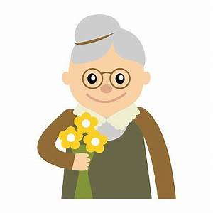 Ältere Frau MIT Blumen Symbol Vektor premium clipart