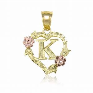 10k yellow gold heart initial letter pendant a z alphabet for Gold letter necklace pendants