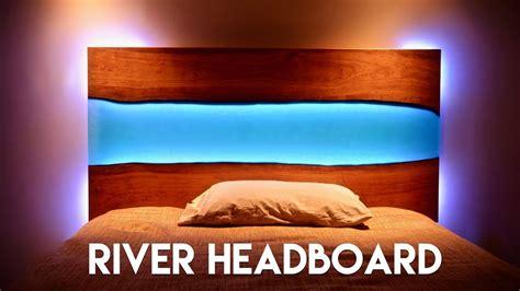 edge epoxy river headboard  table  led lig