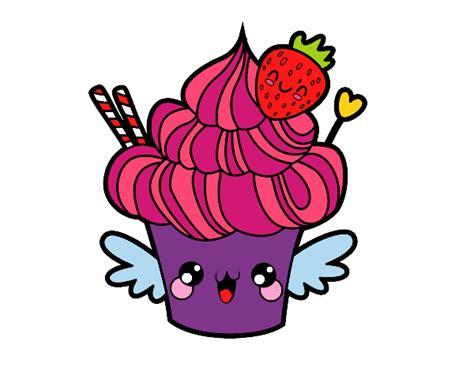 Desenho De Cupcake Kawaii Com Morango Pintado E Colorido