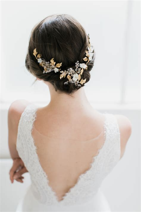 Amourette Gold Leaf Wedding Headpiece Tania Maras