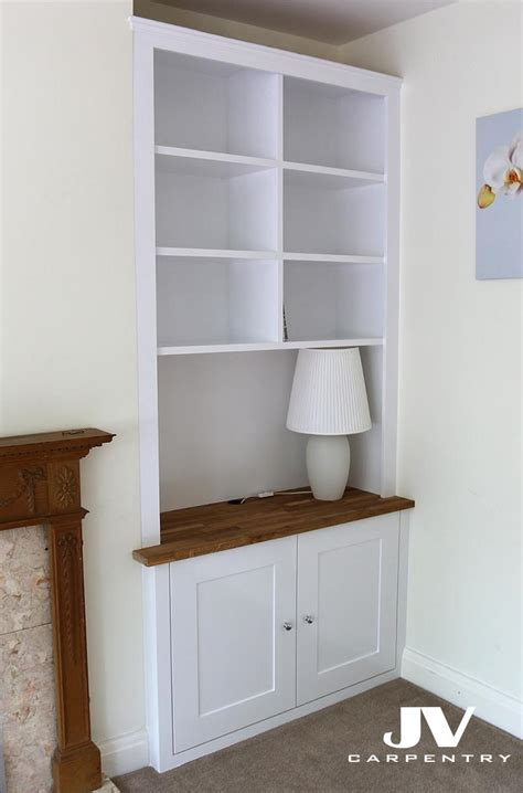 fitted alcove cupboards  bookshelves bespoke cabinets