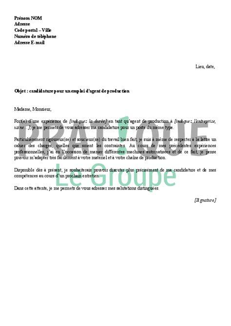 modèle de lettre de relance pour un emploi lettre de motivation pour un emploi d de production