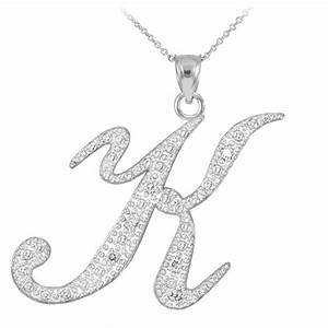 14k white gold letter script quotkquot diamond initial pendant With white gold letter earrings