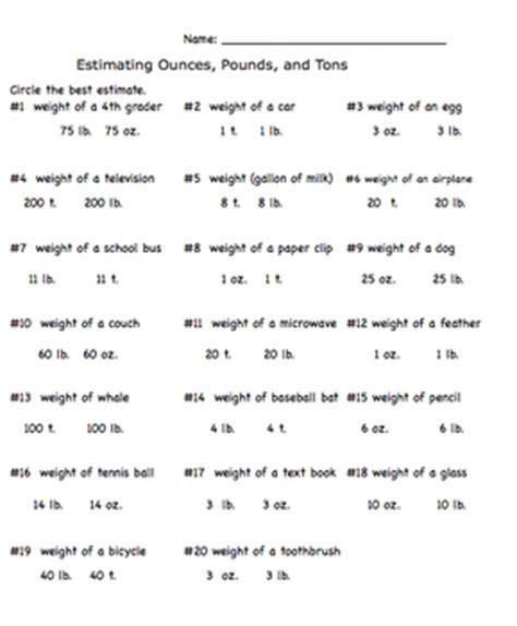 measurement estimation ounces pounds and tons worksheet