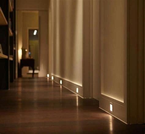 led lights in baseboard of hallway lighting hallway