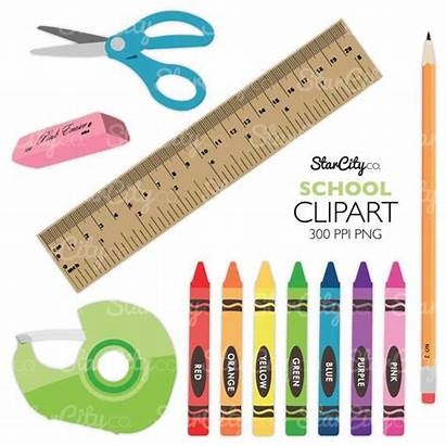 Clipart Crayon Clip Pencil Supplies Scissors Craft
