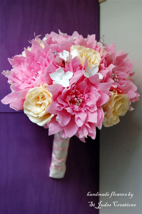 pink dahlia paper flower wedding bouquet handmade paper