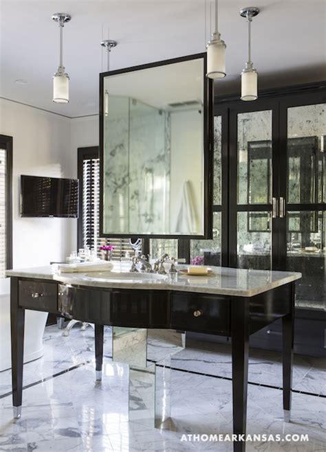 hanging bathroom mirror hollywood regency bathroom