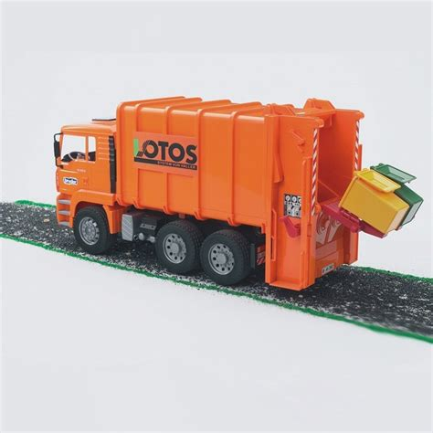bruder garbage bruder toy garbage truck rear loading orange educational
