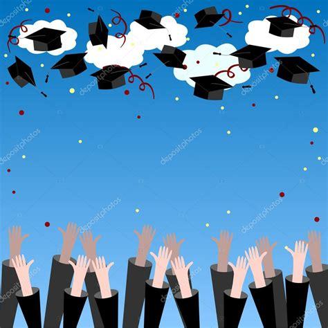 Graduate Background Graduate Throwing Up Graduation Hats Graduation
