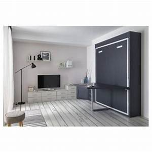 Lit Avec Tv Escamotable : lit escamotable avec table logic ~ Nature-et-papiers.com Idées de Décoration