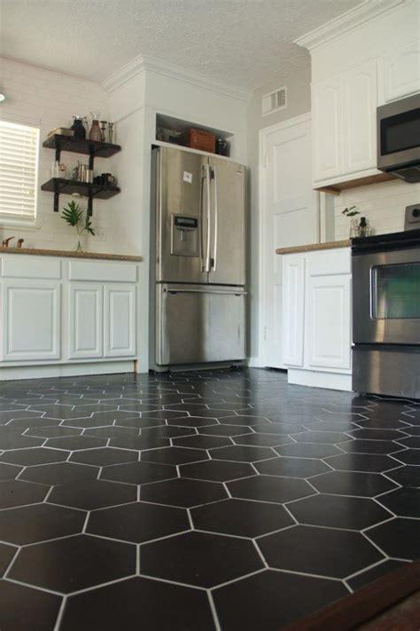 black hexagon tile kitchen floor diy diy fridge surround