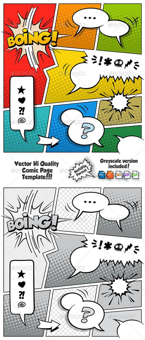Comic Book Page Template Psd by Color Comic Book Page Template By Fourleaflover Graphicriver