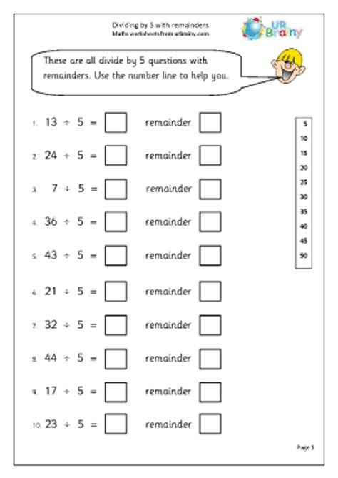 divide by 5 with remainders division maths worksheets for year 2 age 6 7