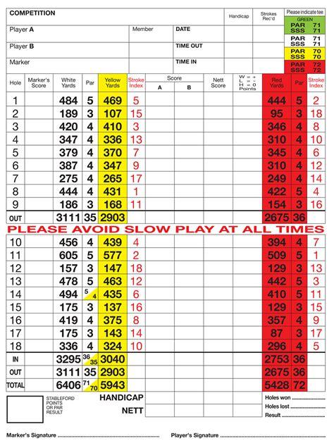 golf scorecard silvermere golf club score card