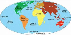 World Map with Continents and Oceans Identified