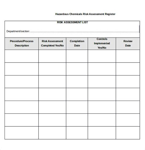Chemical Risk Assessment Template sle risk assessment forms 10 free documents in pdf word