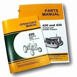 Operator Parts Manual Set For John Deere 420w 420 Row Crop