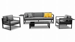 Salon De Jardin Aluminium : salon de jardin tamesi avec canap 2 fauteuils table basse aluminium mobilier moss ~ Teatrodelosmanantiales.com Idées de Décoration