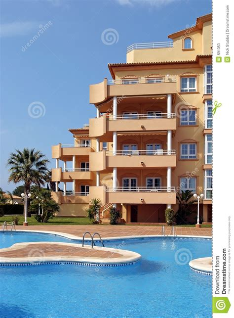 Exterior Of Luxury Holiday Or Vacation Apartments In Spain