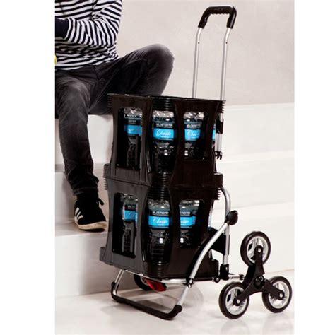 chariot de courses noir 49l 6 roues escaliers