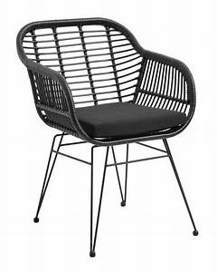 Coussin De Fauteuil De Jardin : fauteuil de jardin osier avec coussin d 39 assise noir ~ Dailycaller-alerts.com Idées de Décoration